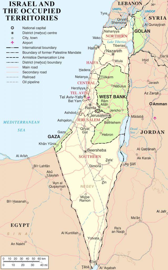 Mappa di Israele e i territori occupati.