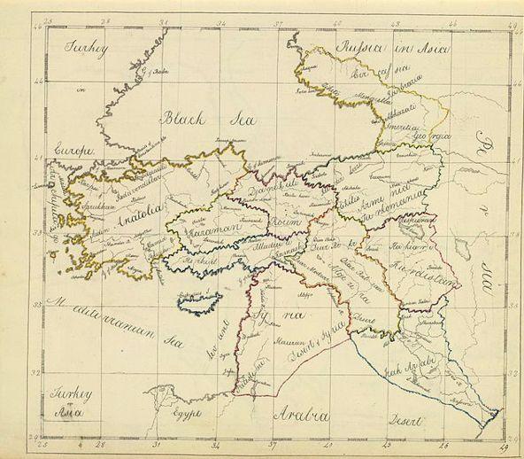 Mappa dell'oriente in cui si vede Israele.