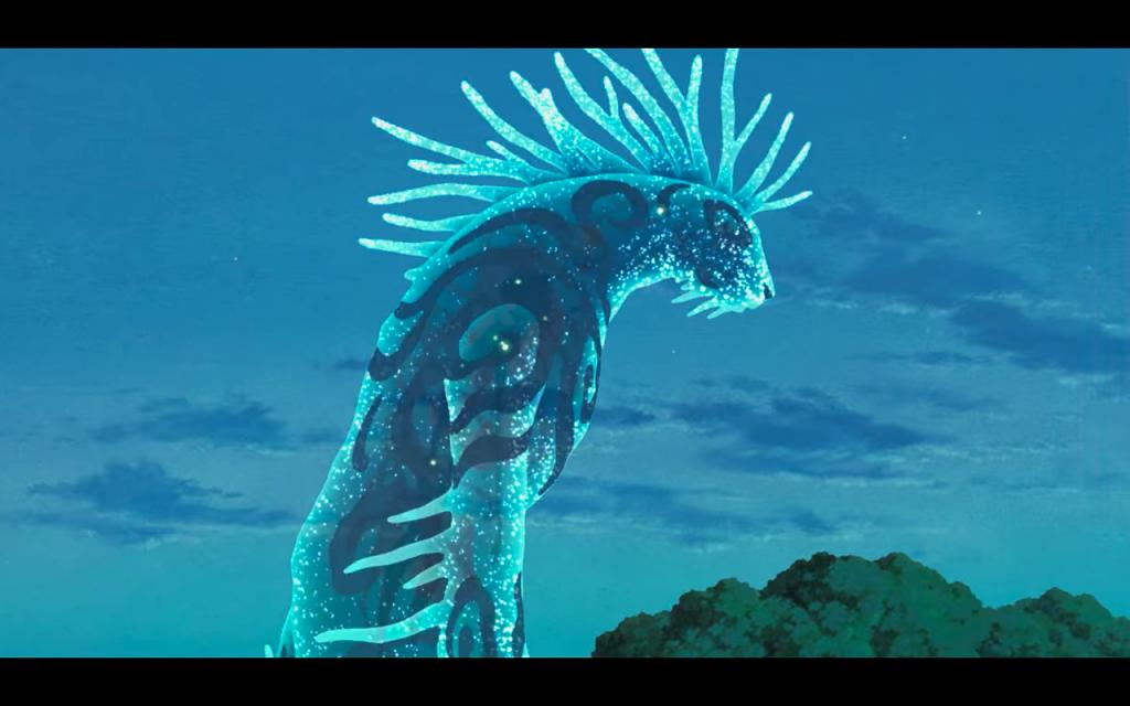 Il dio della foresta nella sua versione notturna in Princess Mononoke.