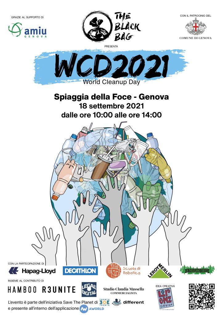 Locandina del World Cleanup Day 2021 organizzato da The Black Bag